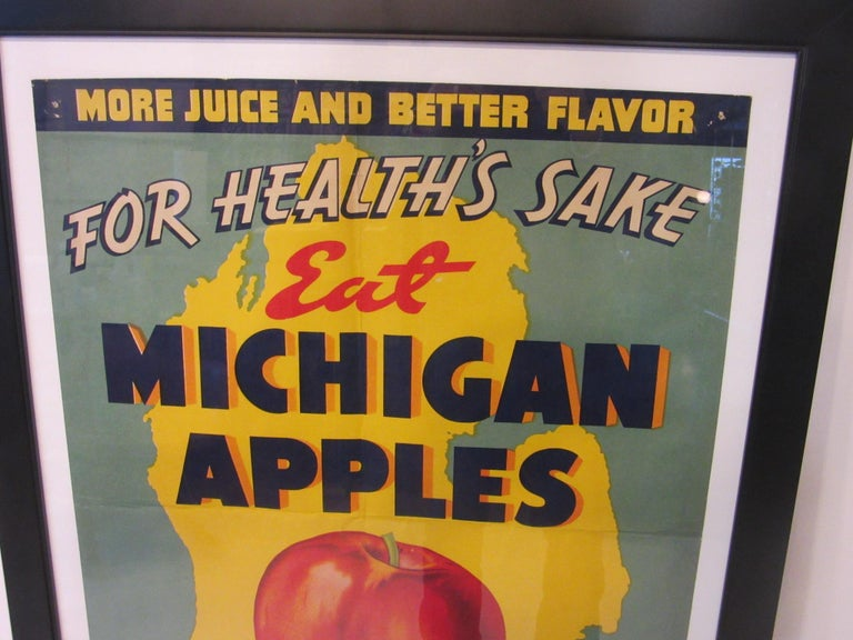 Mid-Century Modern Vintage Eat Michigan Apples Fruit Poster For Sale