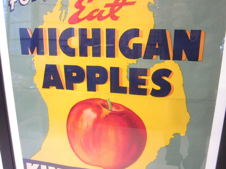 20th Century Vintage Eat Michigan Apples Fruit Poster For Sale