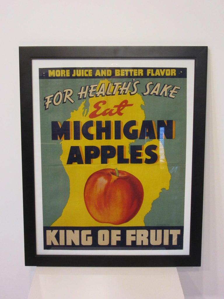 Paper Vintage Eat Michigan Apples Fruit Poster For Sale
