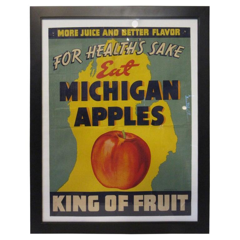 Vintage Eat Michigan Apples Fruit Poster For Sale