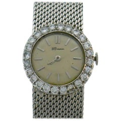 Vintage Ebel White Gold Diamond Wristwatch Retailed by H. Pommier, 1950s