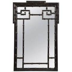Vintage Ebonized Faux-Bamboo Mirror