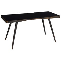 Vintage Ebonized Splay-Leg Cocktail Coffee Table with Black Glass, 20th Century