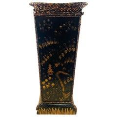Vintage Ebonized Square Chinoiserie Planter, Jardiniere or Vase