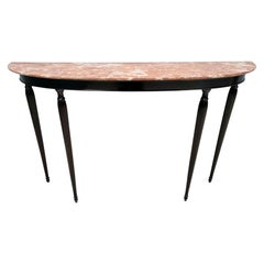 Vintage Ebonized Walnut Console Table with Red Travertine Marble Top, Italy