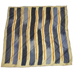 "Vintage  Echo ""Abstract  Strokes"" of Gray, Charcoal & Black  Silk Scarf"