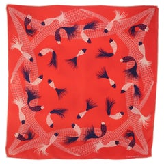 Vintage Echo Red White Blue 'The Catch' Fish Silk Scarf