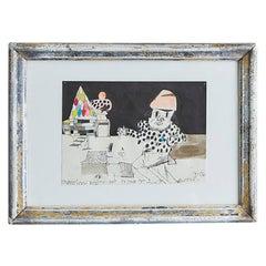 Vintage Eddie Martinez Signed and Dated Art Work in Antique Frame, USA, 2006