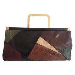 Vintage Edoardo Giannotti multicoloured leather clutch shoulder bag