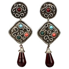 Vintage EDOUARD RAMBAUD Geometric Ethnic Dangling Earrings