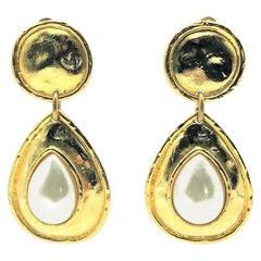 Vintage Edouard Rambaud Paris Pearl Statement Earrings 1980s