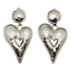 Vintage Edouard Rambaud Paris Statement Gun Metal Stylised Heart Earrings 1980s