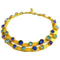 Vintage EDOUARD RAMBAUD Sapphire and Capri Blue Rhinestone Rigid Choker Necklace