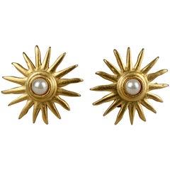 Vintage EDOUARD RAMBAUD Sunburst Pearl Earrings