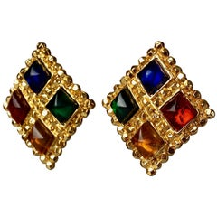 Vintage EDOUARD RAMBAUD Textured Jeweled Square Earrings