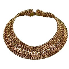 Vintage EDOUARD RAMBAUD Wide Chain Choker Necklace