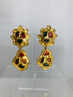 Vintage Eduardo Rambaud Paris Goldtone Enamel Drop Earrings 1990s