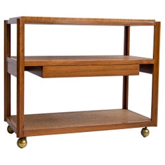 Vintage Edward Wormley for Dunbar Rosewood Frame Bar Cart, Circa 1960s, USA