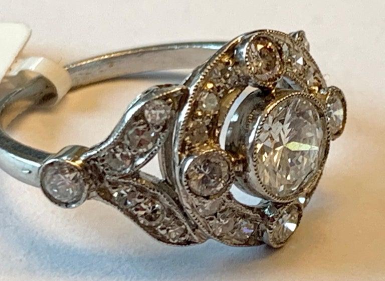 Vintage Edwardian Platinum Engagement Diamond Ring For Sale 5