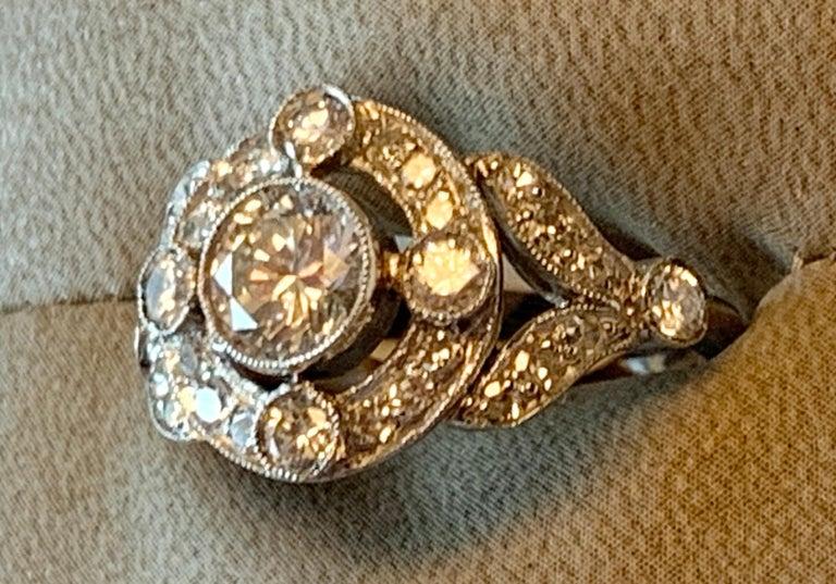 Vintage Edwardian Platinum Engagement Diamond Ring For Sale 4