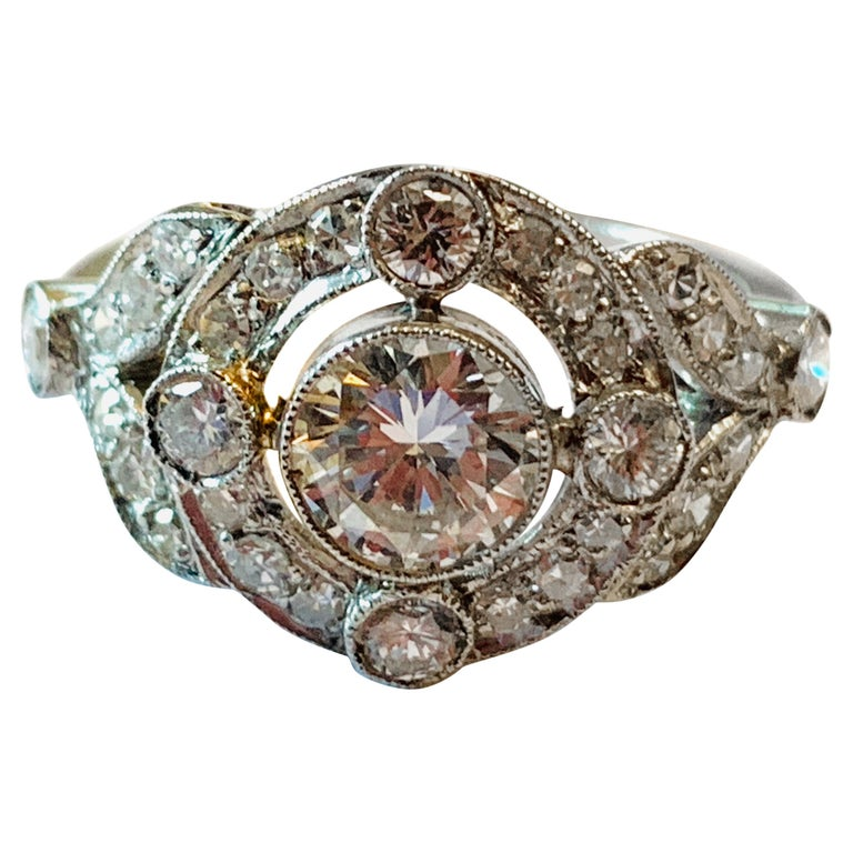 Vintage Edwardian Platinum Engagement Diamond Ring For Sale