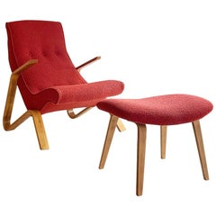 "Vintage Eero Saarinen ""Grasshopper"" Lounge Chair and Ottoman for Knoll"