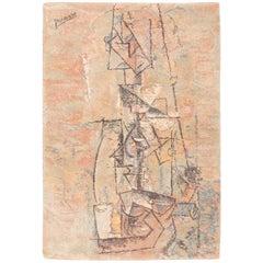 Vintage Ege Art Line Scandinavian Pablo Picasso Woman with Guitar Rug.