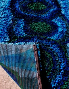 """Vintage EGE Denmark Abstract Rya Rug in Blue and Green Shag Pile, 80"""" x 55"""""""