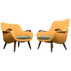 Vintage Egg Shaped Lounge Chairs Dutch Design, 1950s