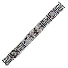 Vintage Egyptian Bracelet Art Bracelet Platinum Diamonds Ruby & Sapphire Replica
