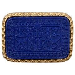 Vintage Egyptian Marvella Blue Brooch 1970's