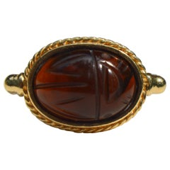 Vintage Egyptian Revival Baltic Amber 14 Karat Gold Scarab Beetle Ring
