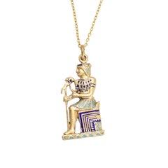 Vintage Egyptian Revival Enamel Pendant