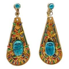 Vintage Egyptian Revival Gold Ceramic Scarab Earrings 1940s