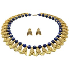 Vintage Egyptian Revival Gold & Lapis Fly Collar 1980s