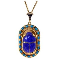 Vintage Egyptian Revival Scarab Lapis Lazuli Turquoise and 18 Karat Gold Pendant