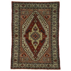 Vintage Egyptian Rug with Persian Serapi Design and Mid-Century Modern Style
