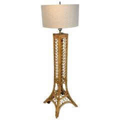 Vintage Eiffel Tower Rattan Floor Lamp