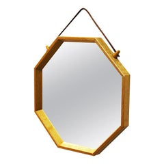 Vintage Eight Edged Oak Wall Mirror, Sweden, 1960s