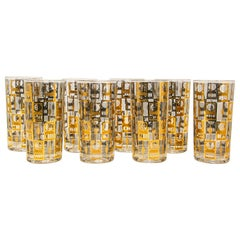 Vintage Eight Highball Brown and Gold Glasses in a Cart by Culver
