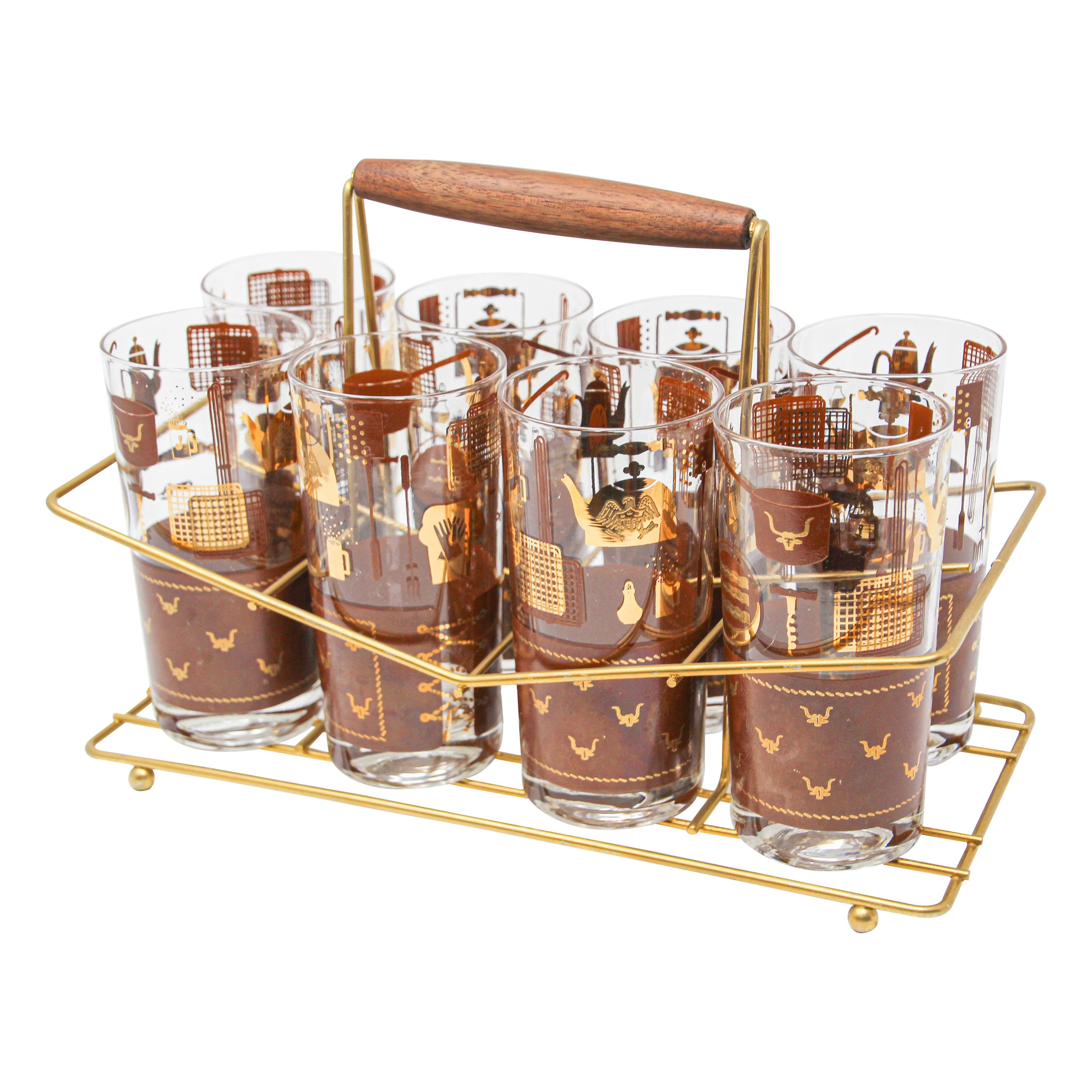 Vintage Eight Highball Brown and Gold Glasses in a Cart by George Briard