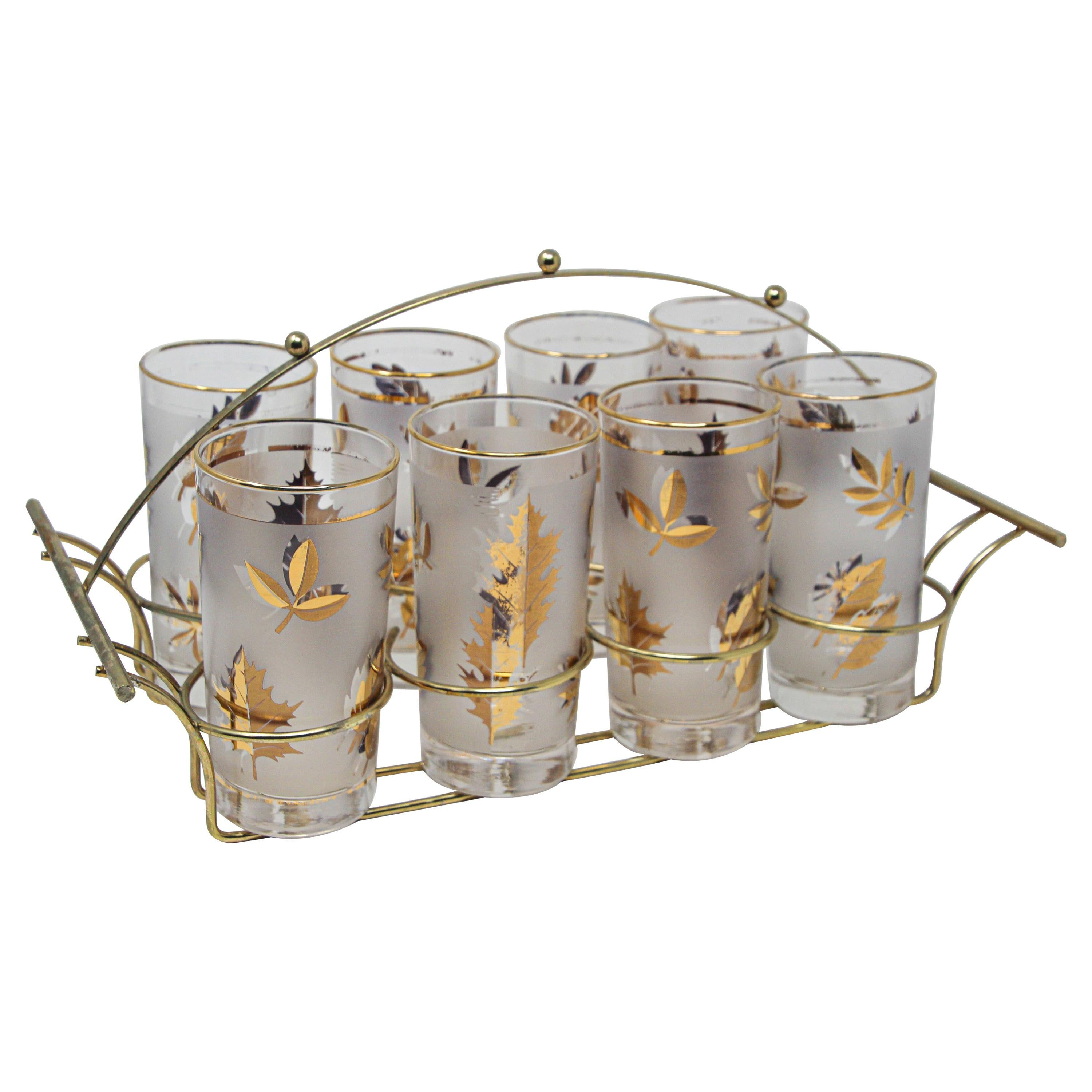 Vintage Eight Highball Gold Glasses in a Brass Cart by Fred Press