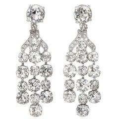 Vintage Eisenberg Crystal Chandelier Earrings