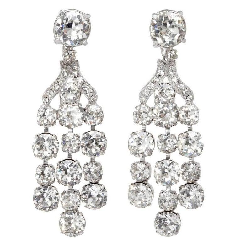 Vintage Eisenberg Crystal Chandelier Earrings For Sale