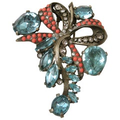 Vintage Eisenberg Faux Coral and Blue Crystal Fur Clip Brooch