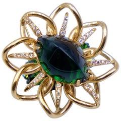 Vintage Eisenberg Green Glass Brooch 1950's