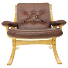 Vintage Ekornes Leather Easy Chair Armchair Midcentury, 1960s-1970s