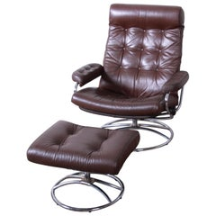 Vintage Ekornes Stressless Chrome and Leather Lounge Chair and Ottoman