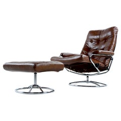 Vintage Ekornes Style Chrome and Leather Recliner Lounge Chair with Ottoman