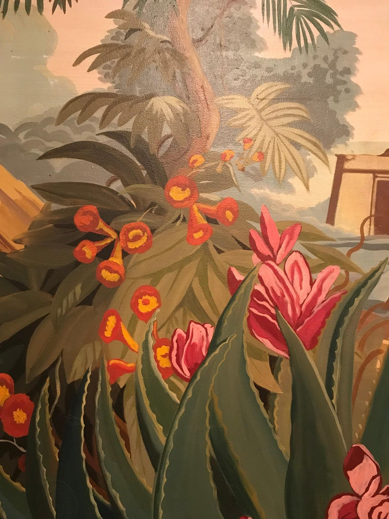 20th Century Vintage Pink Red Floral El Dorado Mural Scene Painting For Sale